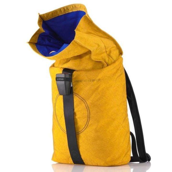 Rucksack Airpaq gelb geöffnet
