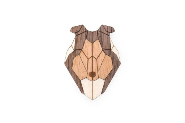 brosche collie bewooden