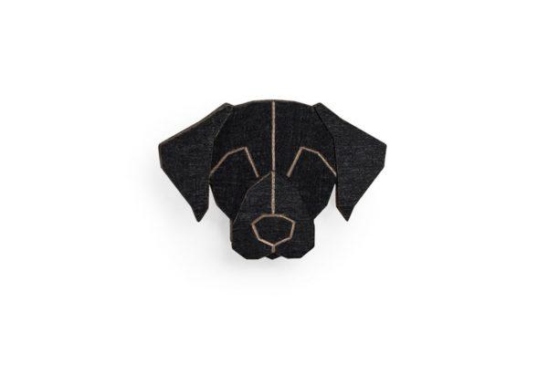 brosche schwarzer Labrador bewooden