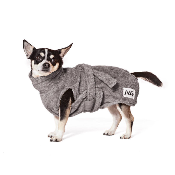 Hundebademantel aus Bio-Frottee in Grau von LILL's
