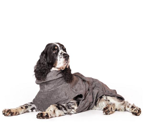 Hundebademantel aus Bio-Baumwolle in Grau von LILL's