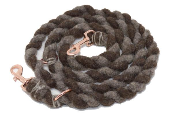 Verstellbare Hundeleine aus Bio-Schurwolle in Brauntönen - HERZUNDHUND