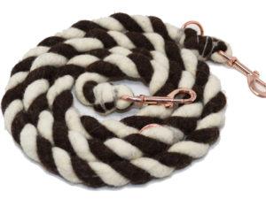 hundeleine schurwolle herz und hund braun dick01