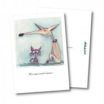 Tierpostkartne von Mietz und Mops