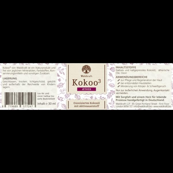 ozonisiertes kokosoel waldkraft aether etikett