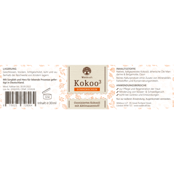 ozonisiertes kokosoel waldkraft mandarine etikett