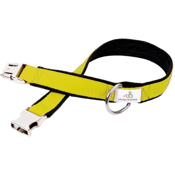Hundehalsband Jeans und Gurtband in Gelb