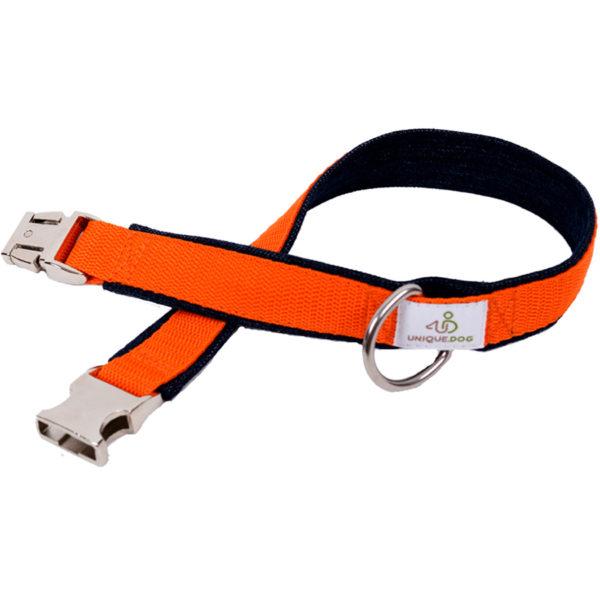 Halsband nach Maß aus Jeans und Gurtband in Orange