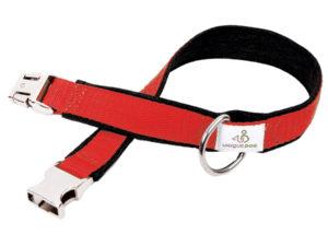 Hundehalsband handgemacht aus Jeans und Gurtband in Rot