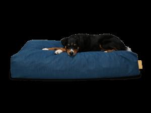 OCEAN: Ökologisches Hundebett von BUDDY in DUnkelblau - mit Hundemodell