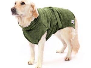 Bademantel für Hunde - dunkelgrün