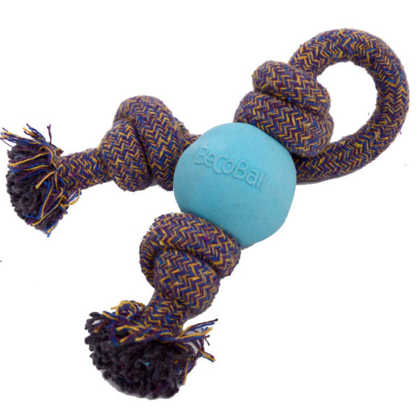 Hundeball mit Seil - Becoball with Rope in Blau
