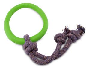 Öko Hundespielzeug Ring mit Seil - Becopets grün