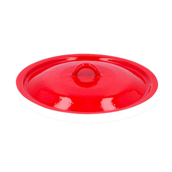 Deckel für Emailleschüssel in Rot - von Unique Dog -