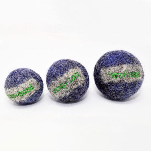 Ball aus Bio-Filz in Blau