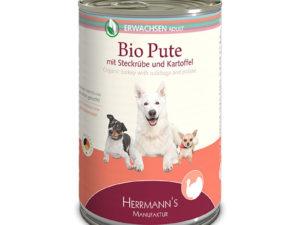 Dosenfutter für Hunde: Bio-Puten-Menü von Herrmann's