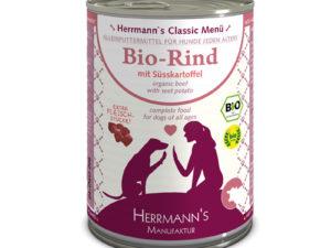 Hochwertiges Nassfutter für den Hund - Bio-Rind mit Süsskartoffeln von Herrmann's