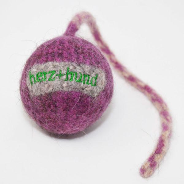 Schleuderball für Hunde - Bio-Filz in Pink