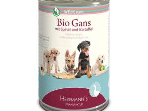 Welpenfutter getreidefrei: Bio-Gans mit Spinat und Kartoffeln von HERRMANN'S